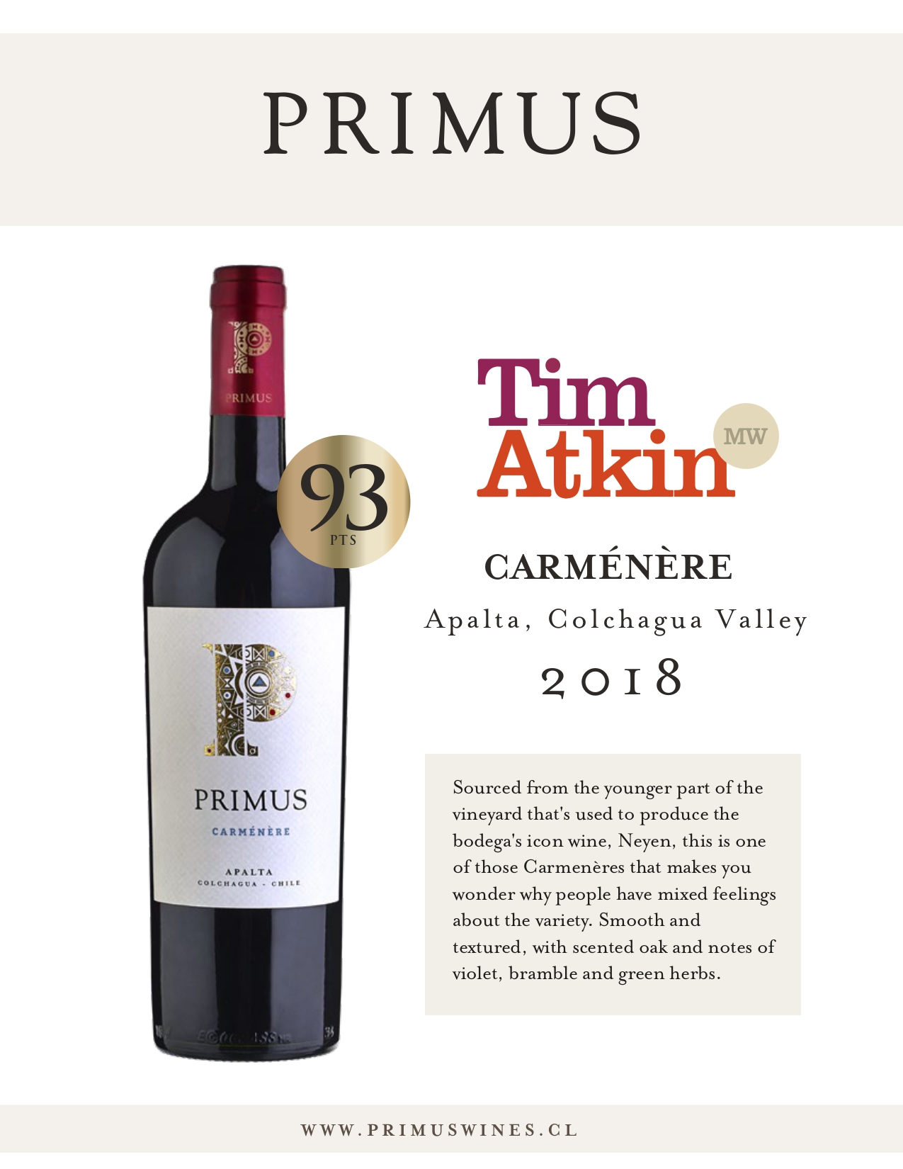 Carmenere 2018: 93 Points Tim Atkin