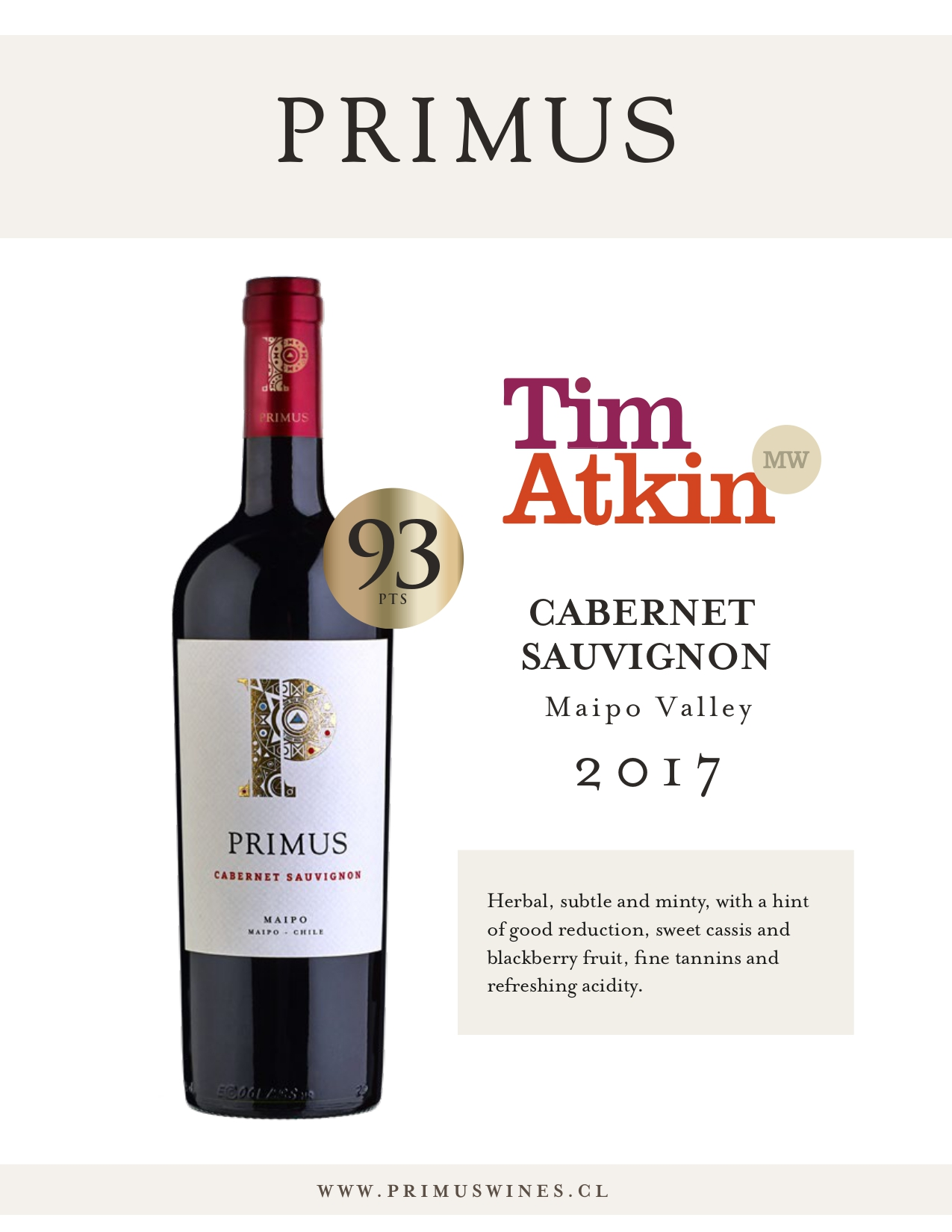 Cabernet Sauvignon 2017: 93 Points Tim Atkin