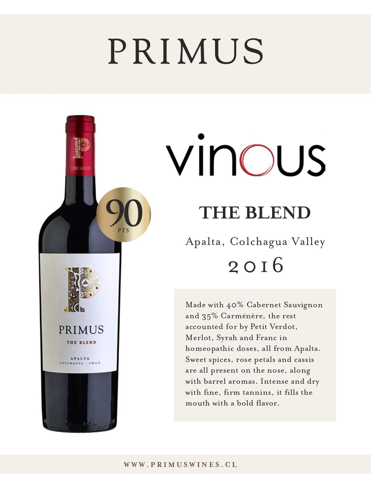 Primus The Blend 2016: 90 Puntos Vinous